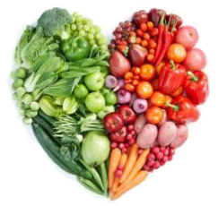 heart made of fruits and veggies